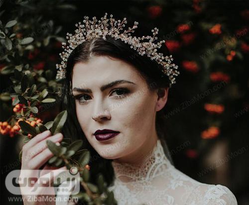 تاج عروس زیبا با کریستال های ریز و درخشان