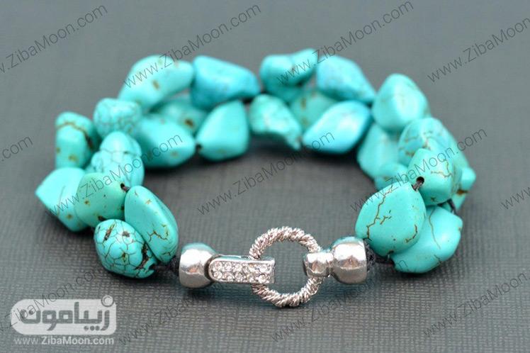 دستبند فیروزه ای خوشه ای زیبا
