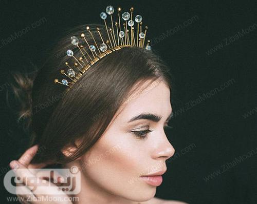 مدل تاج عروس ظریف و متفاوت با کریستال های درخشان