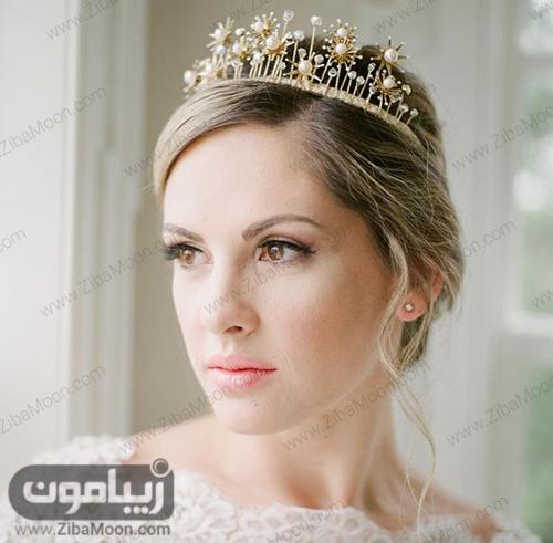 مدل تاج عروس فلزی و مرواریدی