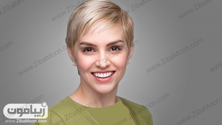 رنگ موی روشن و مدل موی کوتاه