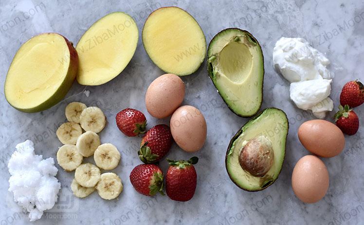 میوه ها و تخم مرغ