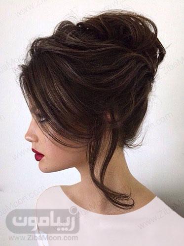 مدل شینیون آپدو موی قهوه ای تیره کلاسیک و شیک 15