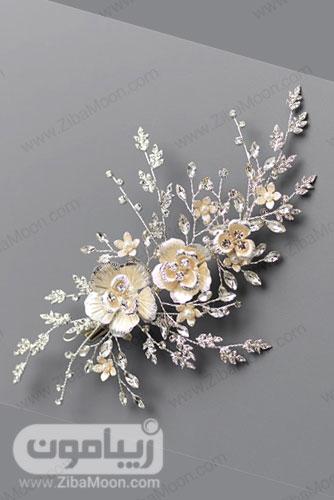 اکسسوری موی عروس با گل های طلایی روشن و برگ های ظریف 16