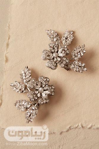 شانه موی عروس با طراحی وینتیج گل با کریستال و مروارید 10