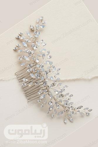 شانه مو طلایی روشن عروس با کریستال های اوپال و شفاف 18
