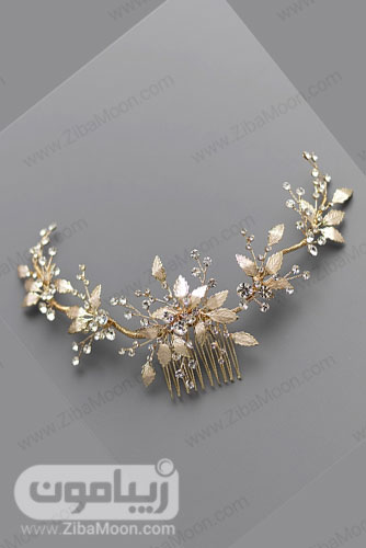 شانه مو طلایی عروس با برگ های طلایی روشن و گل های کریستالی 17