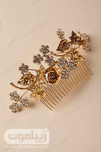 شانه مو طلایی عروس با طراحی گل رز و کریستال 5