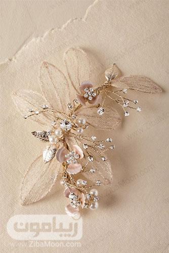 شانه مو عروس با برگ های گیپوری و گل های صدفی و مرواریدی 6