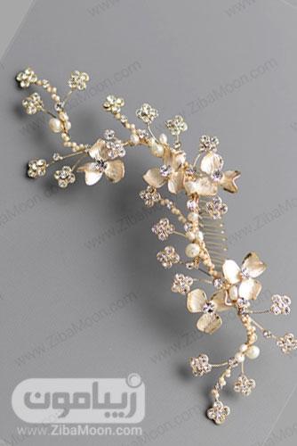 شانه مو عروس طلایی روشن با گل های ریز و کریستال های کوچک 23