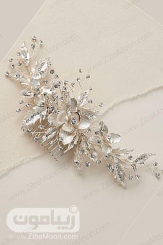 شانه مو نقره ای طلایی روشن عروس با طراحی گلدار و کریستال های تزیینی 21