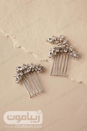 شانه مو نقره ای عروس با طراحی برگ های کریستالی شفاف 2