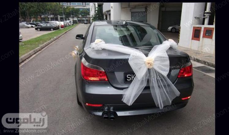 ماشین عروس شیک با تزیین تور