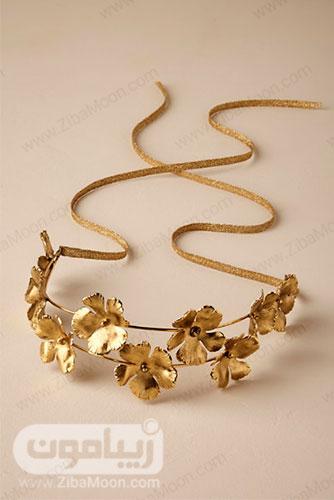 هدبند طلایی عروس با طراحی گل شمعدانی 11