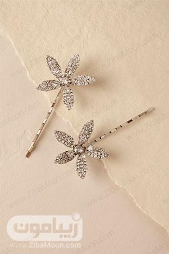 گیره موی عروس به شکل گل های پنج پر کریستالی 4