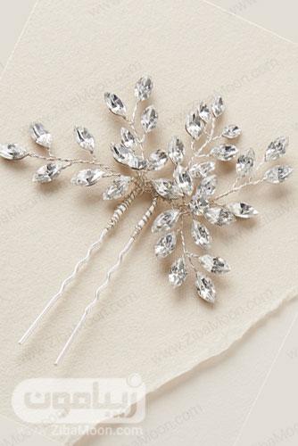 گیره مو عروس با کریستال های شفاف برگ شکل 24