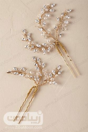 گیره مو عروس طلایی با برگ های کریستالی شفاف 9