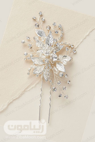 گیره مو عروس پلاتینی با برگ های ظریف و گل های کریستالی 26