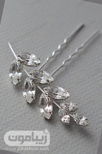 گیره مو نقره ای عروس با کریستال های برگی شکل و ساده 28
