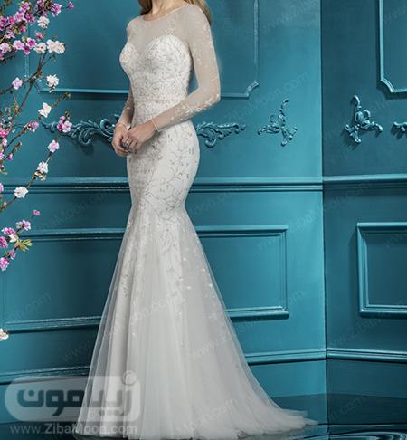 لباس عروس دم ماهی با آستین بلند و گیپوری