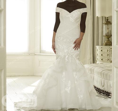 لباس عروس پری دریایی با یقه دلبری شیک