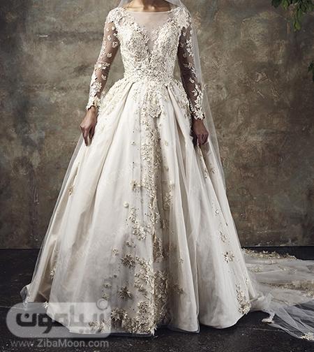 لباس عروس آستین بلند پرنسسی و شکوفه دار