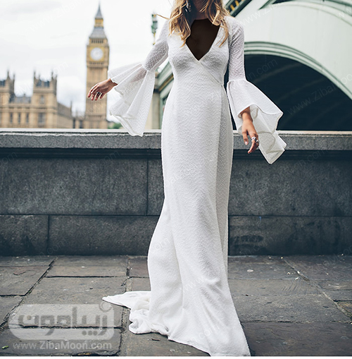 لباس عروس بوهو با آستین بلند و نیلوفری