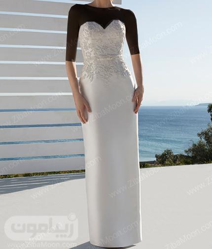 لباس عروس دکلته با دامن ساده