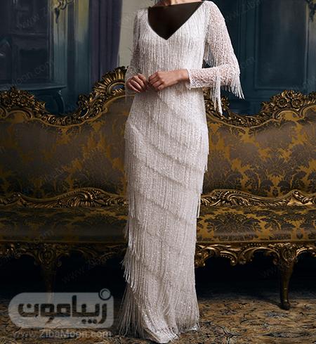 لباس عروس ساده و خاص با استین بلند