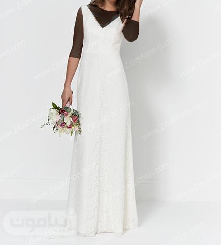 لباس عروس با دامن ساده و یه هفتی شکل