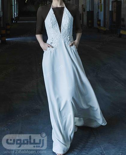 لباس عروس ساده و حریری به سبک بوهو