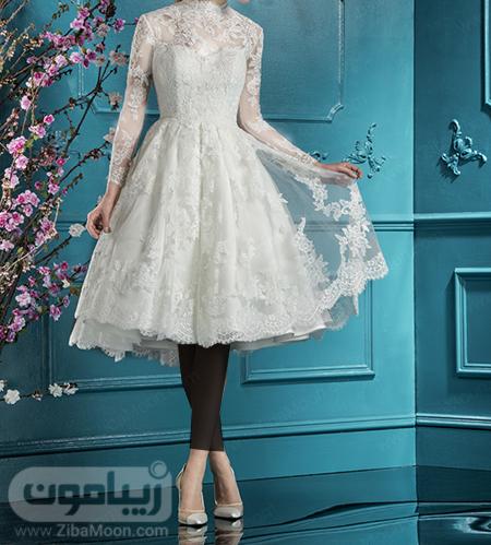 لباس عروس گیپوری با دامن پف دار و کوتاه