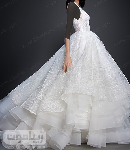لباس عروس پرنسسی با دامن حریری چند لایه و جدید