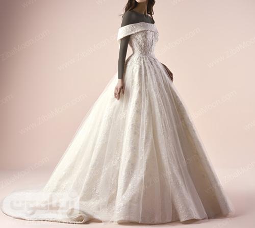 لباس عروس پرنسسی با یقه دلبری جدید