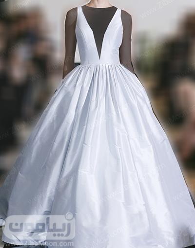 لباس عروس پرنسسی با یقه هفتی بلند