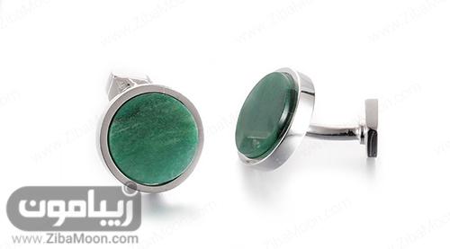 دکمه سردست شیک با سنگ سبز