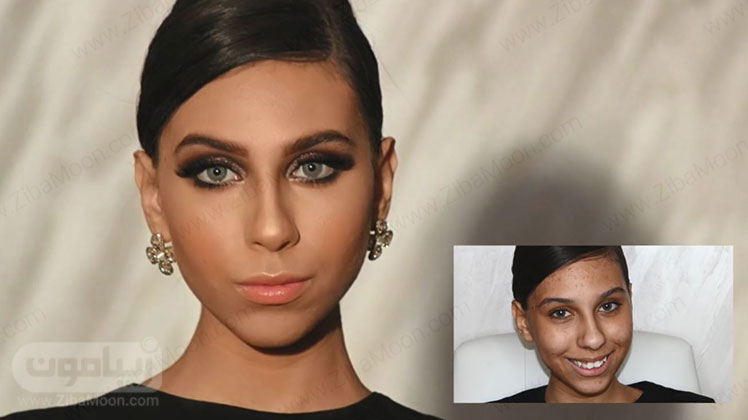 قبل و بعد از آرایش صورت