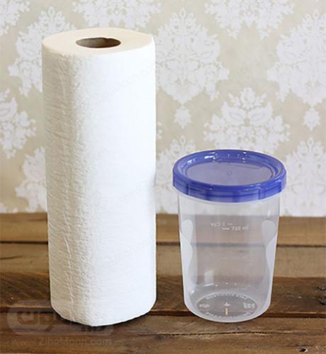 دستمال توالت و ظرف دردار
