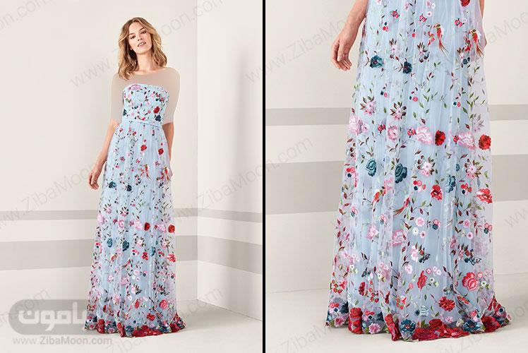 لباس مجلسی آبی روشن با طراح گل و پرنده های برجسته