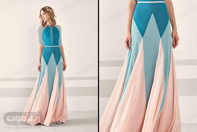 لباس مجلسی آبی و نود