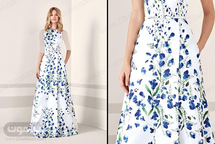لباس مجلسی بلند با گل های آبی و یقه هالتری