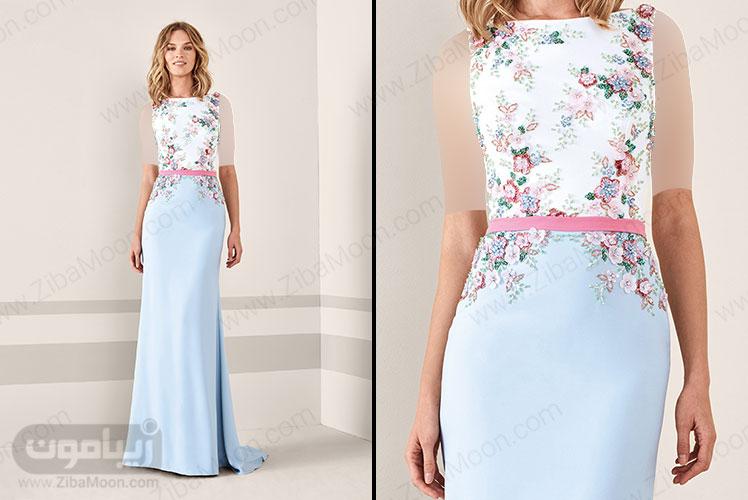 لباس مجلسی بلند زنانه با بالاتنه کار شده و دامن آبی روشن
