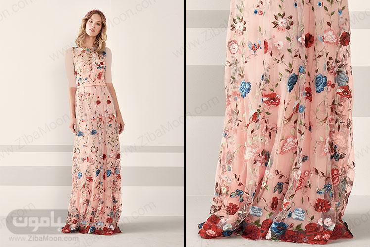 لباس مجلسی زنانه بلند صورتی با دیزاین گل های برجسته