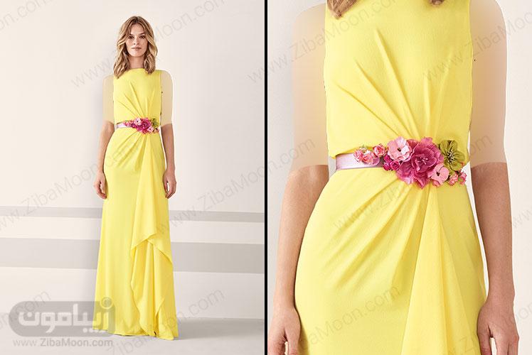 لباس مجلسی زرد با کمربند گلدار