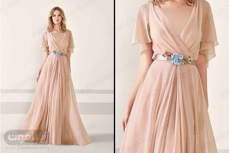 لباس مجلسی زنانه با رنگ نود و یقه هفتی