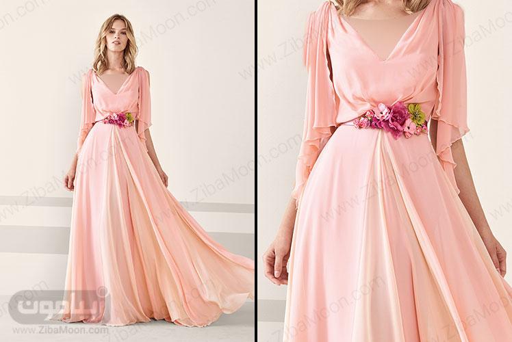 لباس مجلسی زنانه بلند با یقه دلبری و کمربند گل