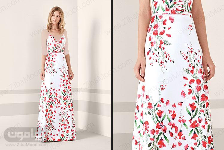 لباس مجلسی سفید گلدار با یقه دلبری