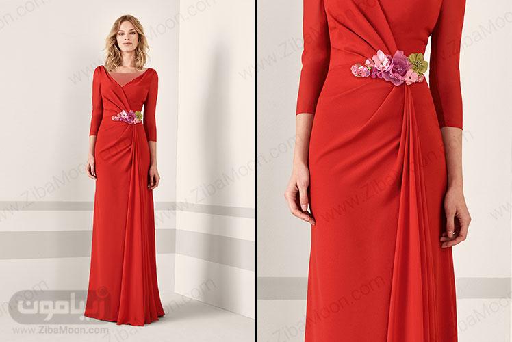 لباس مجلسی قرمز با کمربند گلدار