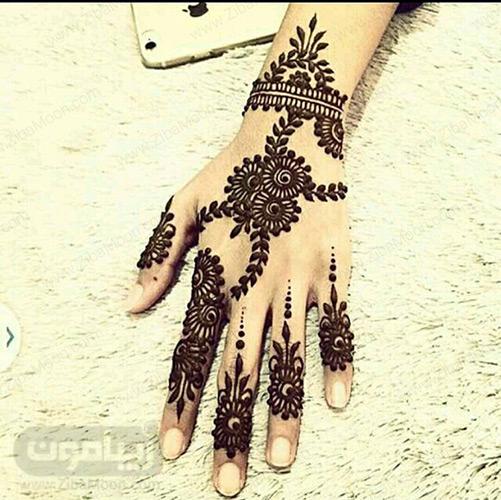 نقش حنا عربی با گل