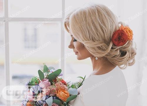 شنیون مو عروس با گلهای طبیعی